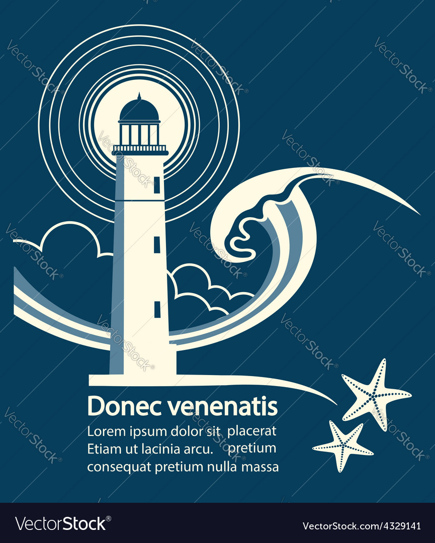 Lighthouse graphic poster for text vector | Price: 1 Credit (USD $1)