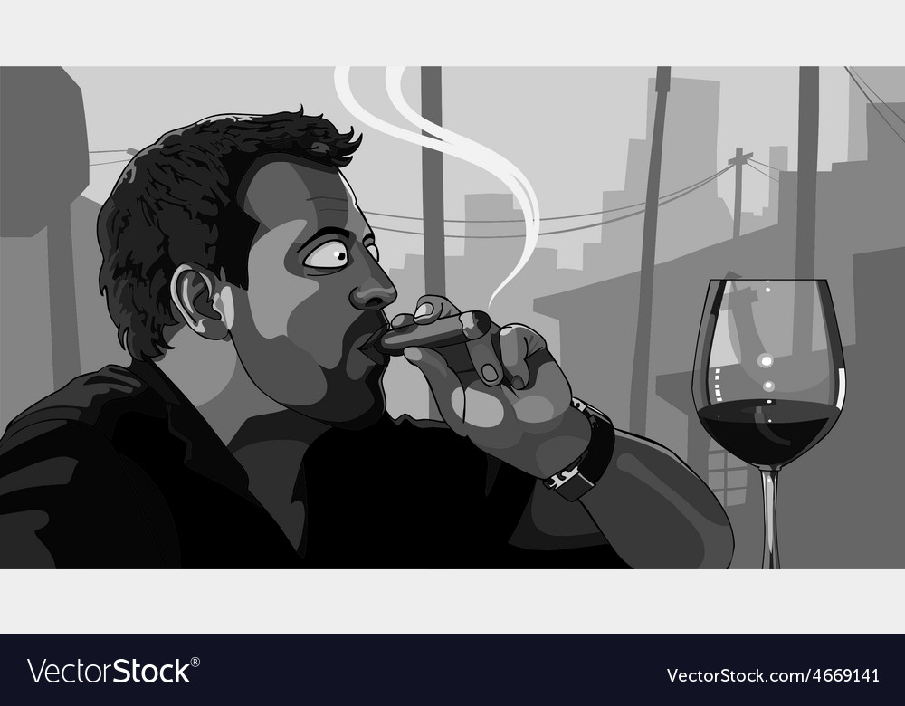 Man smoking a cigar vector | Price: 3 Credit (USD $3)