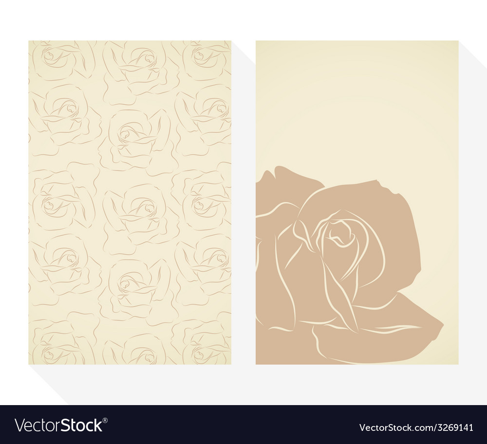 Retro business cards set with silhouette roses vector | Price: 1 Credit (USD $1)