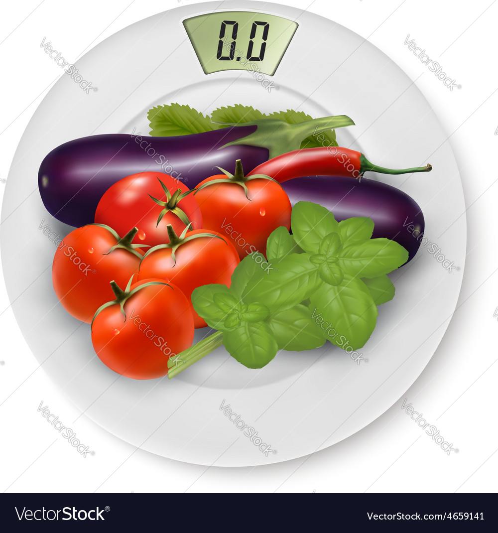 Scale with vegetables concept of diet vector | Price: 3 Credit (USD $3)