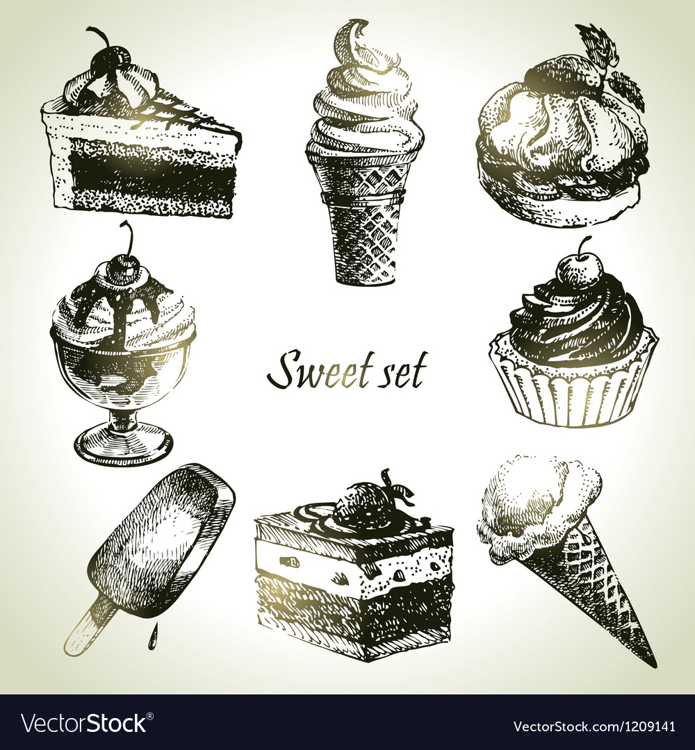 Sweet set handdrawn of cake and ice cream vector | Price: 3 Credit (USD $3)