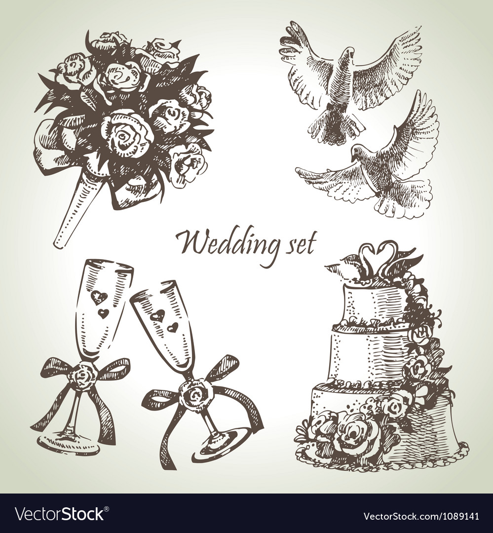 Wedding set hand drawn vector