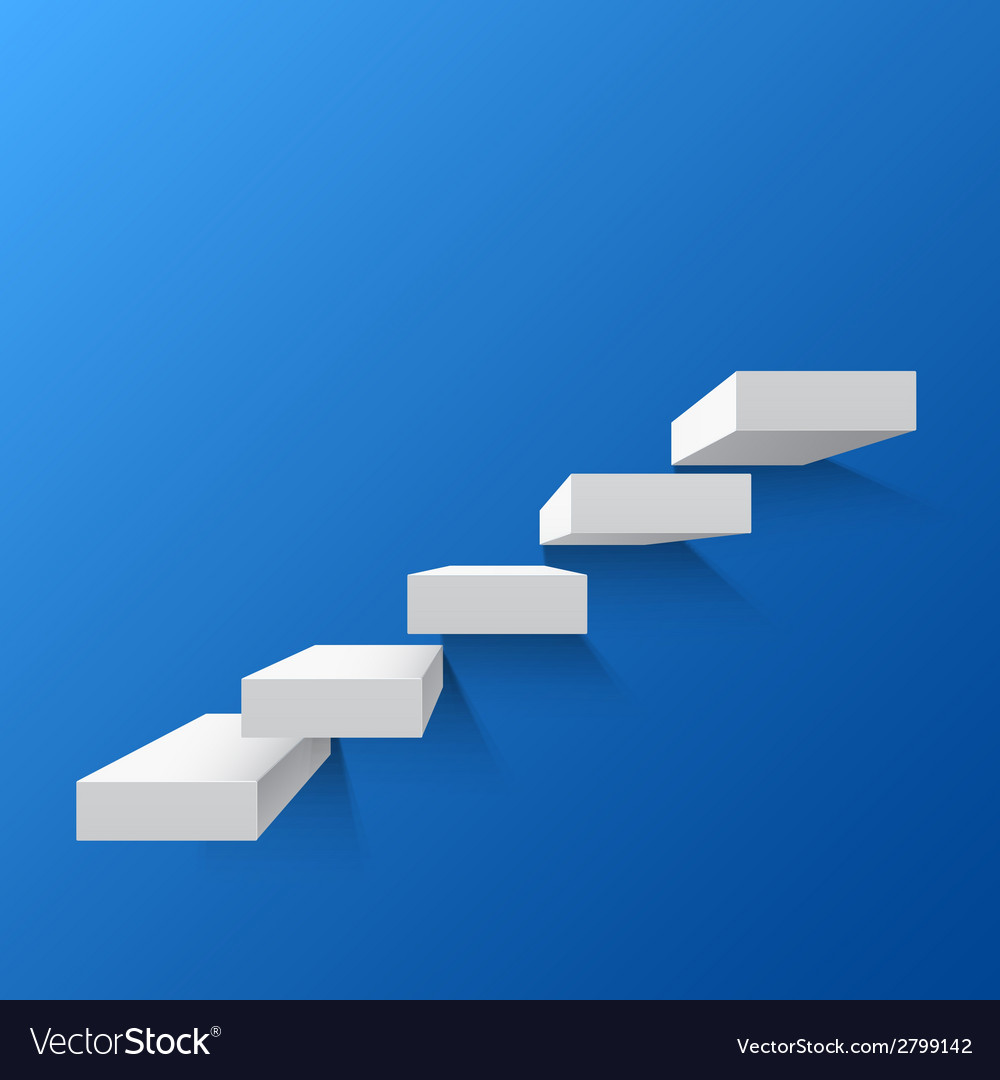 Blue abstract background with white stairs vector | Price: 1 Credit (USD $1)