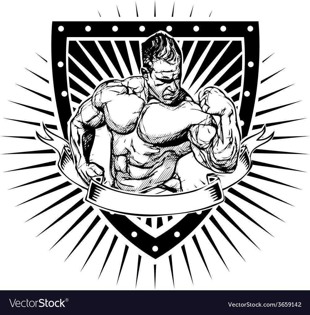 Bodybuilder shield vector | Price: 3 Credit (USD $3)