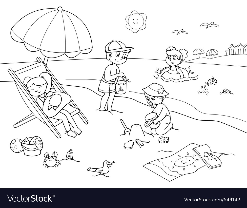 Children at the beach vector | Price: 1 Credit (USD $1)