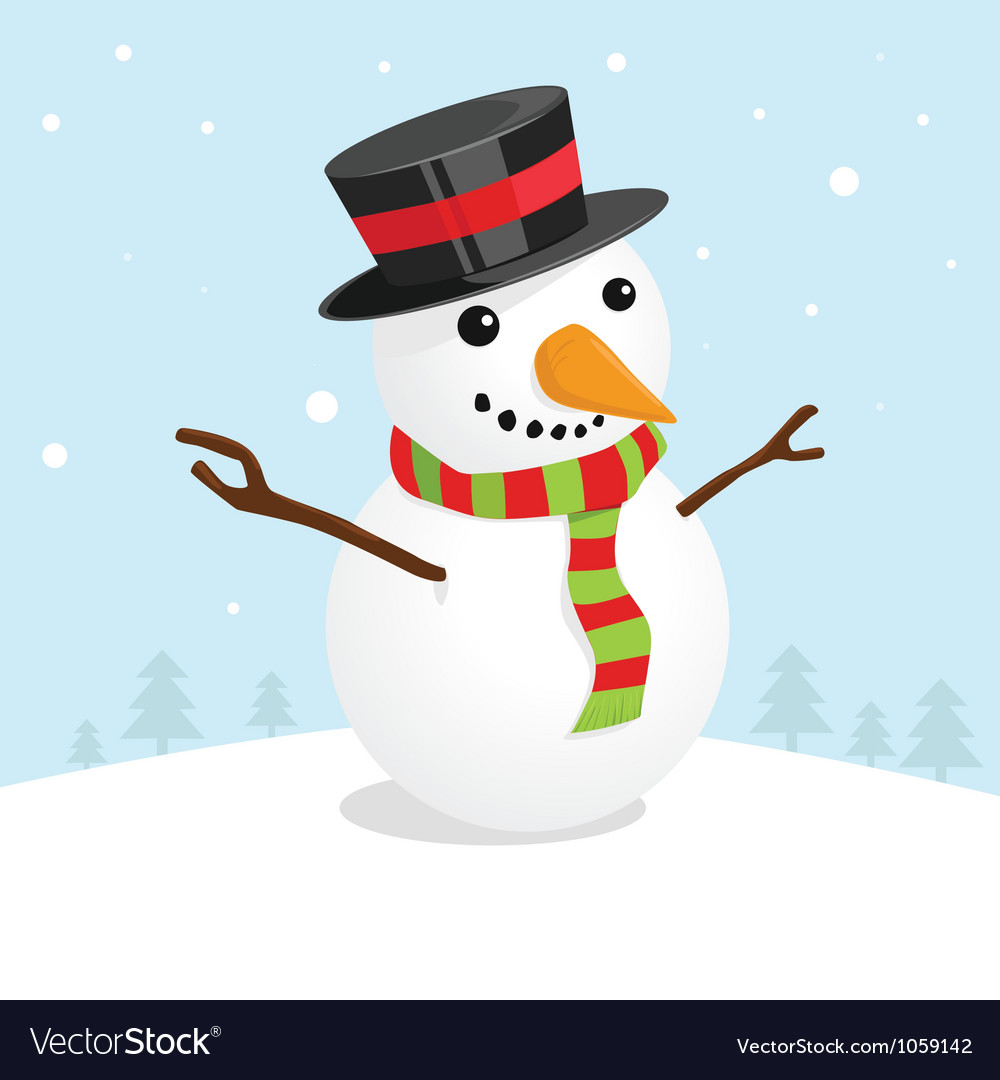 Christmas card with a cute snowman vector | Price: 1 Credit (USD $1)