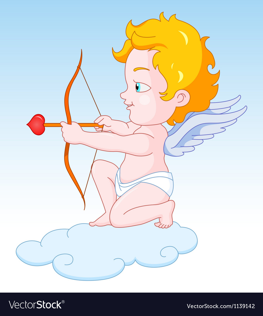 Cupid with bow and arrow vector