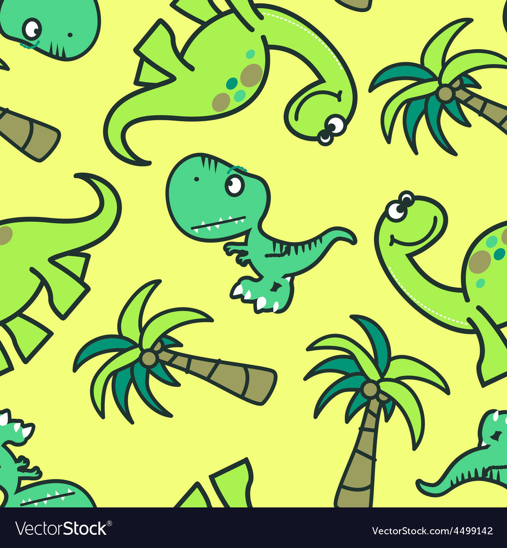 Cute dinosaur seamless pattern vector   Price: 1 Credit (USD $1)
