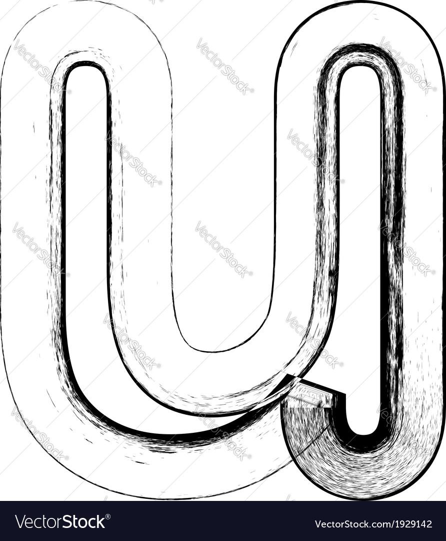 Grunge font letter u vector | Price: 1 Credit (USD $1)
