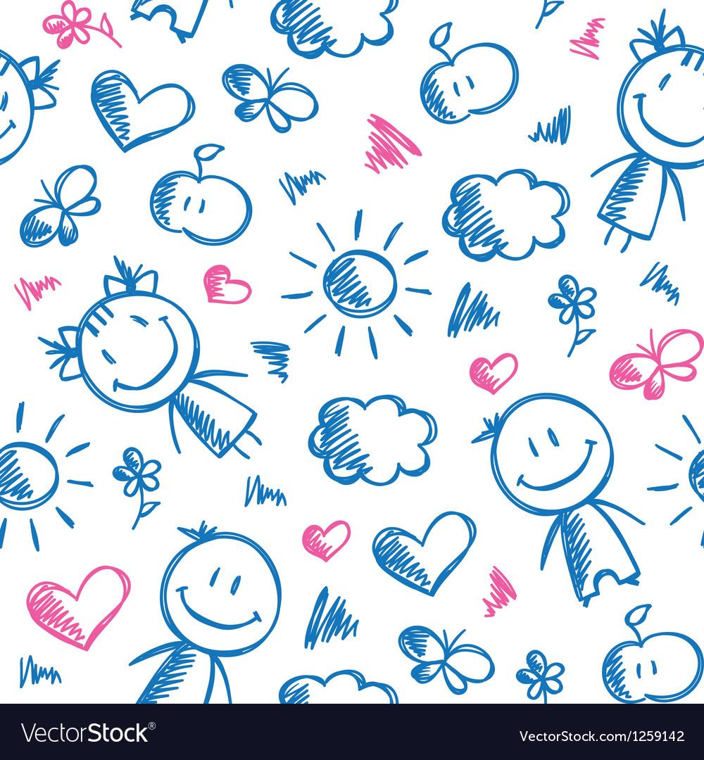 Hand drawn kid pattern vector | Price: 1 Credit (USD $1)