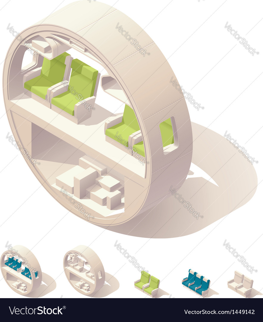 Isometric aircraft cabin cross-section vector | Price: 3 Credit (USD $3)