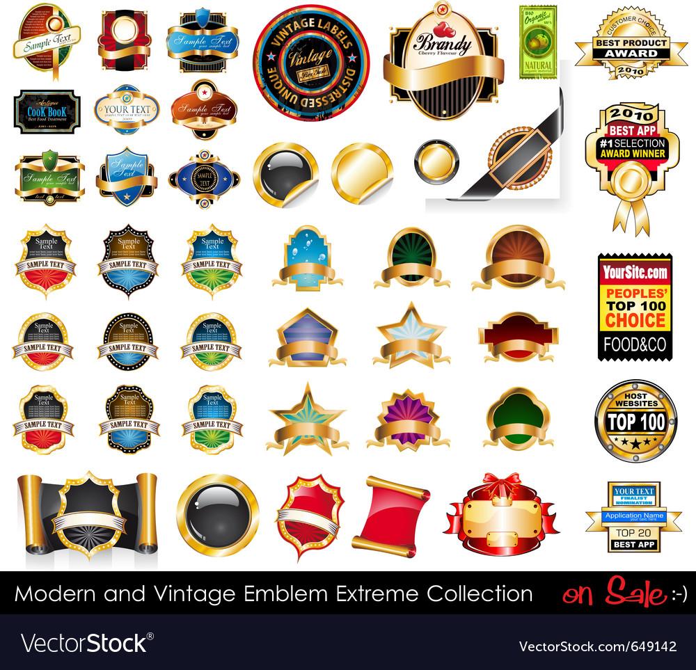 Modern and vintage emblems vector | Price: 3 Credit (USD $3)