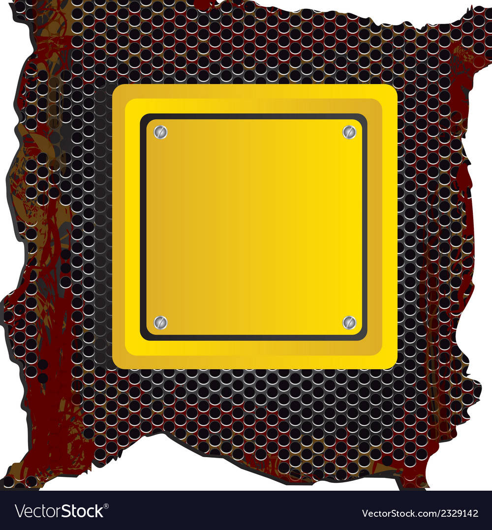 Square yellow sign over rusty background vector | Price: 1 Credit (USD $1)