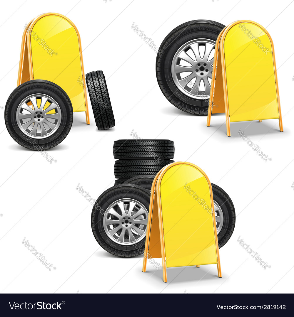 Tires with billboard vector | Price: 1 Credit (USD $1)