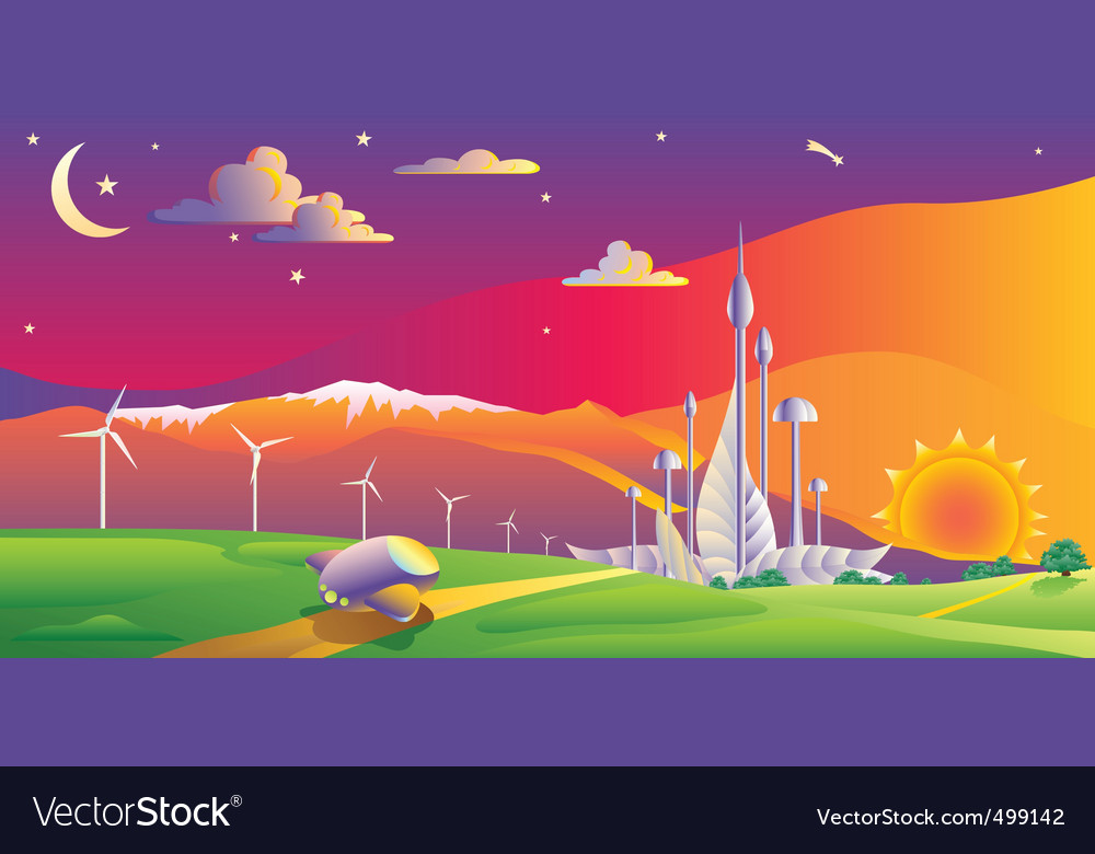 Wind turbines farm vector   Price: 1 Credit (USD $1)