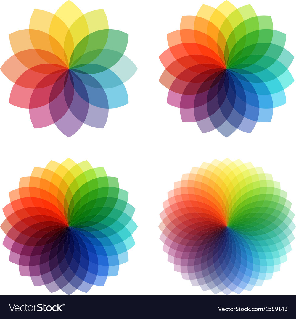 Abstract color flowers set vector | Price: 1 Credit (USD $1)