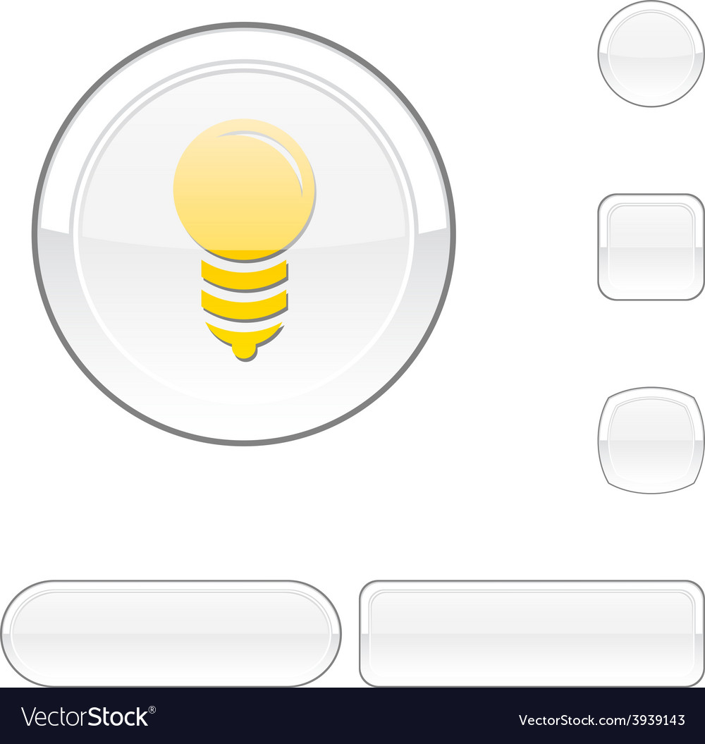 Bulb white button vector | Price: 1 Credit (USD $1)