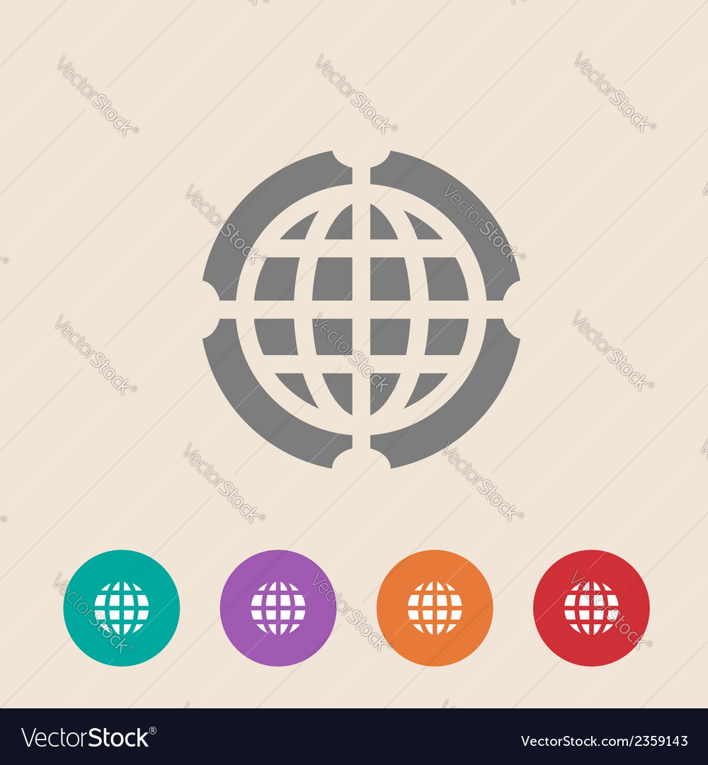 Globe icon  flat design style vector | Price: 1 Credit (USD $1)