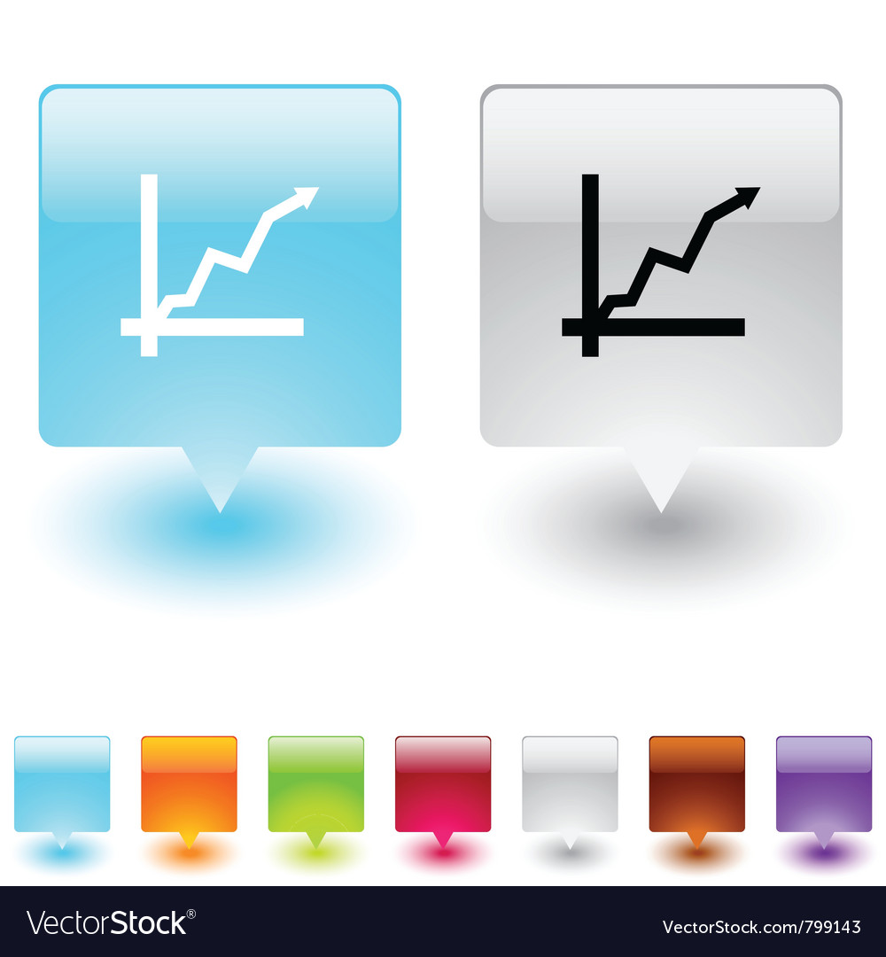 Positive trend square button vector | Price: 1 Credit (USD $1)