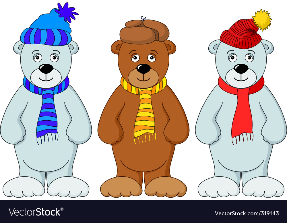 Teddy bears in winter costume vector | Price: 1 Credit (USD $1)