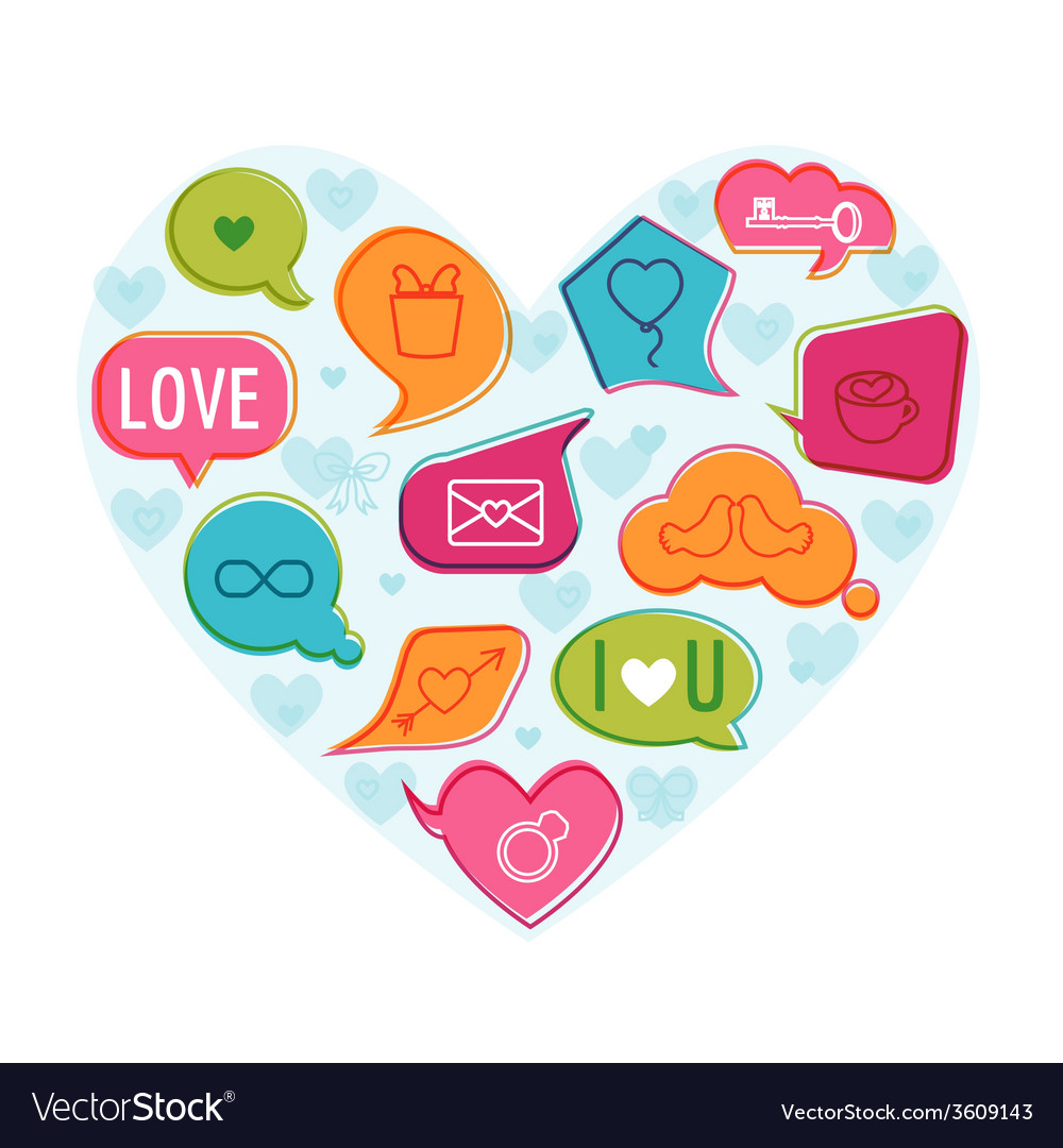 Valentines day love card - with flat icons vector | Price: 1 Credit (USD $1)