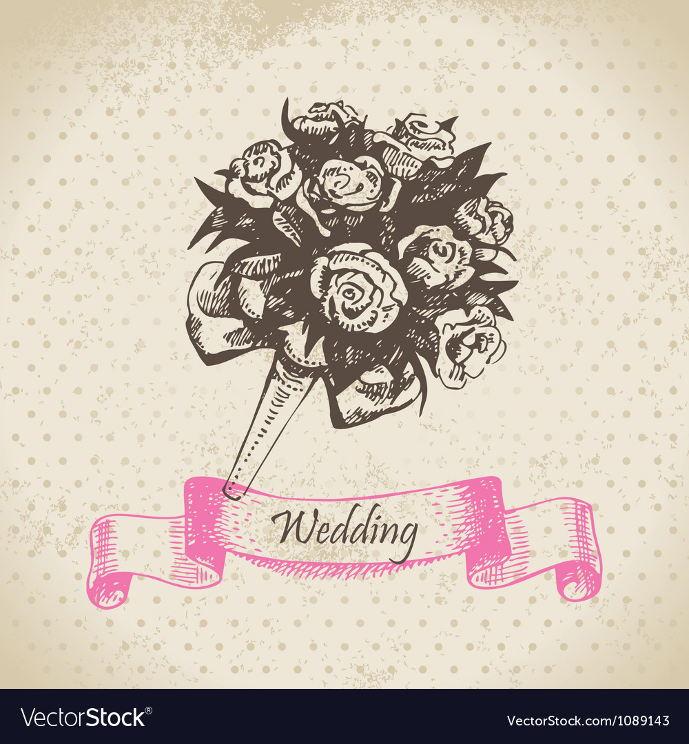 Wedding bouquet hand drawn vector | Price: 1 Credit (USD $1)