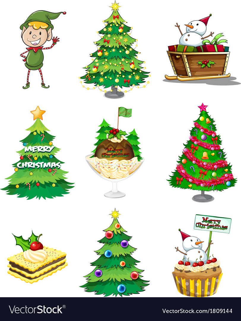 A santa elf with the other christmas decorations vector   Price: 1 Credit (USD $1)