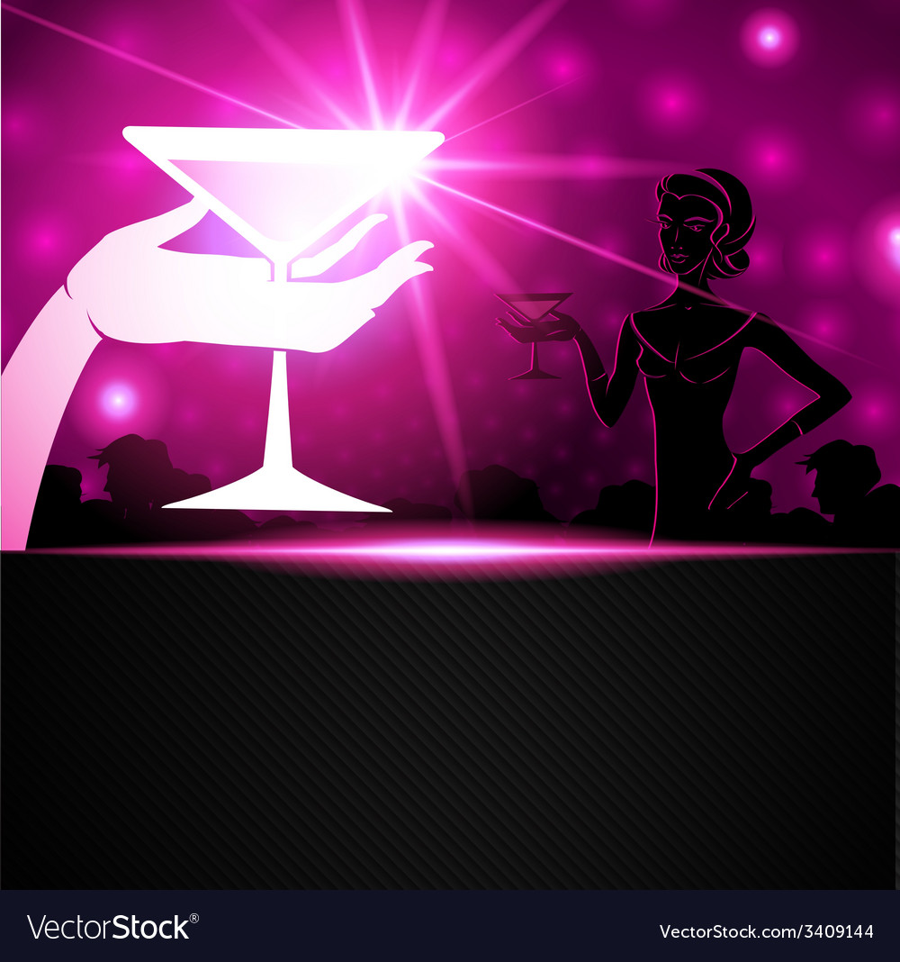A woman holding a cocktail a sparkling background vector | Price: 1 Credit (USD $1)