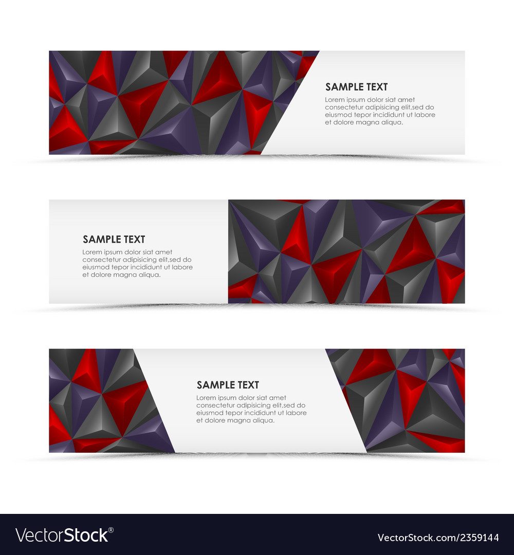 Abstract pyramid horizontal banners vector | Price: 1 Credit (USD $1)