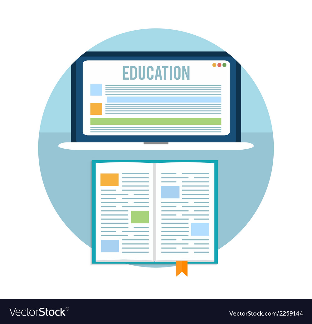 Book with laptop education concept vector | Price: 1 Credit (USD $1)