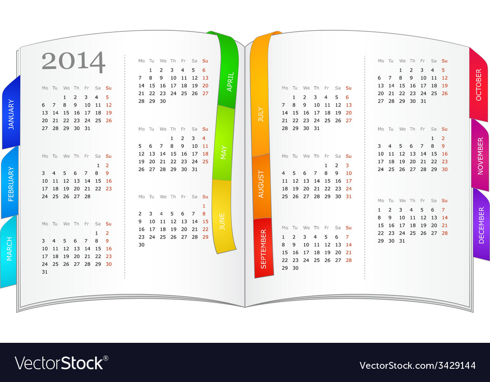 Calendar for 2014 in open book vector | Price: 1 Credit (USD $1)
