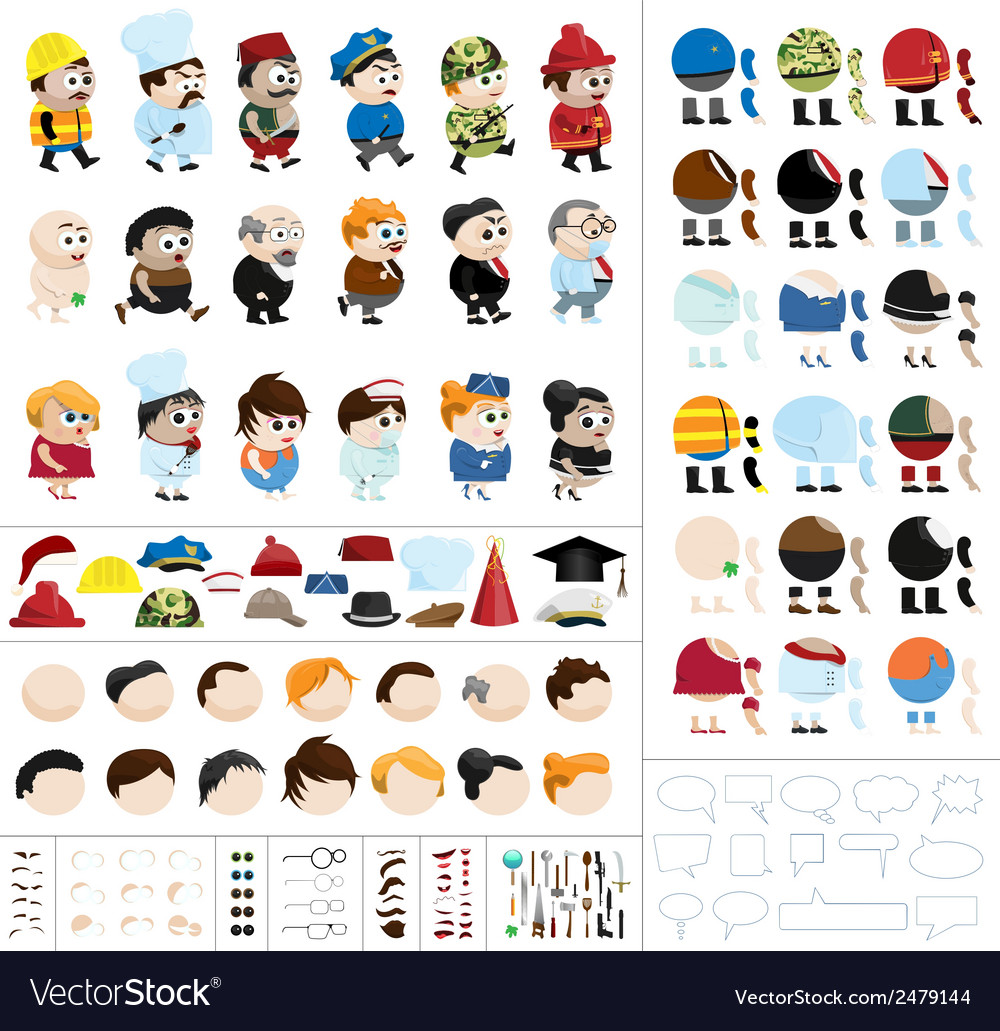 Character creation kit vector | Price: 1 Credit (USD $1)
