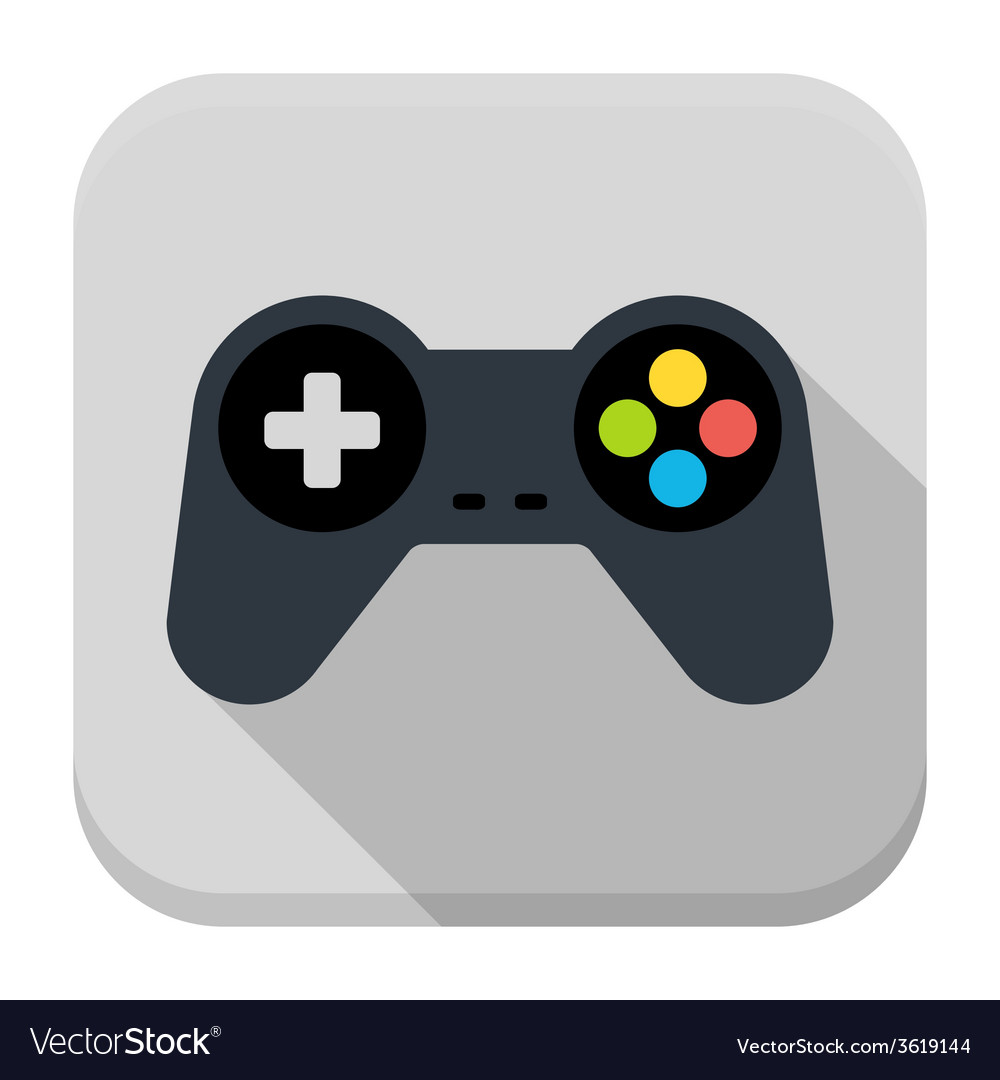 Game controller flat app icon with long shadow vector | Price: 1 Credit (USD $1)