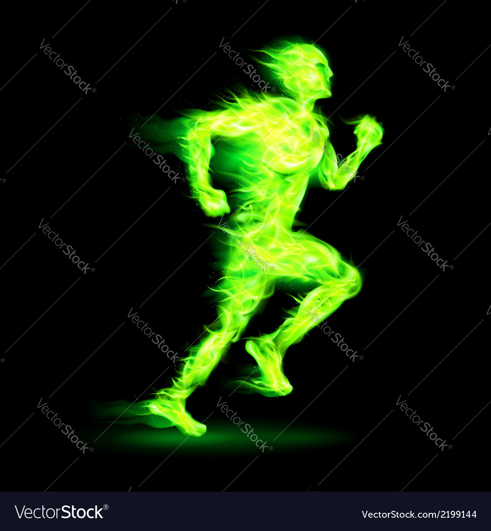 Green fiery running man vector | Price: 1 Credit (USD $1)