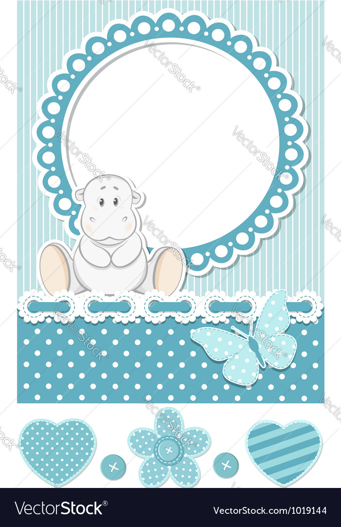 Happy baby hippo blue scrapbook set vector | Price:  Credit (USD $)