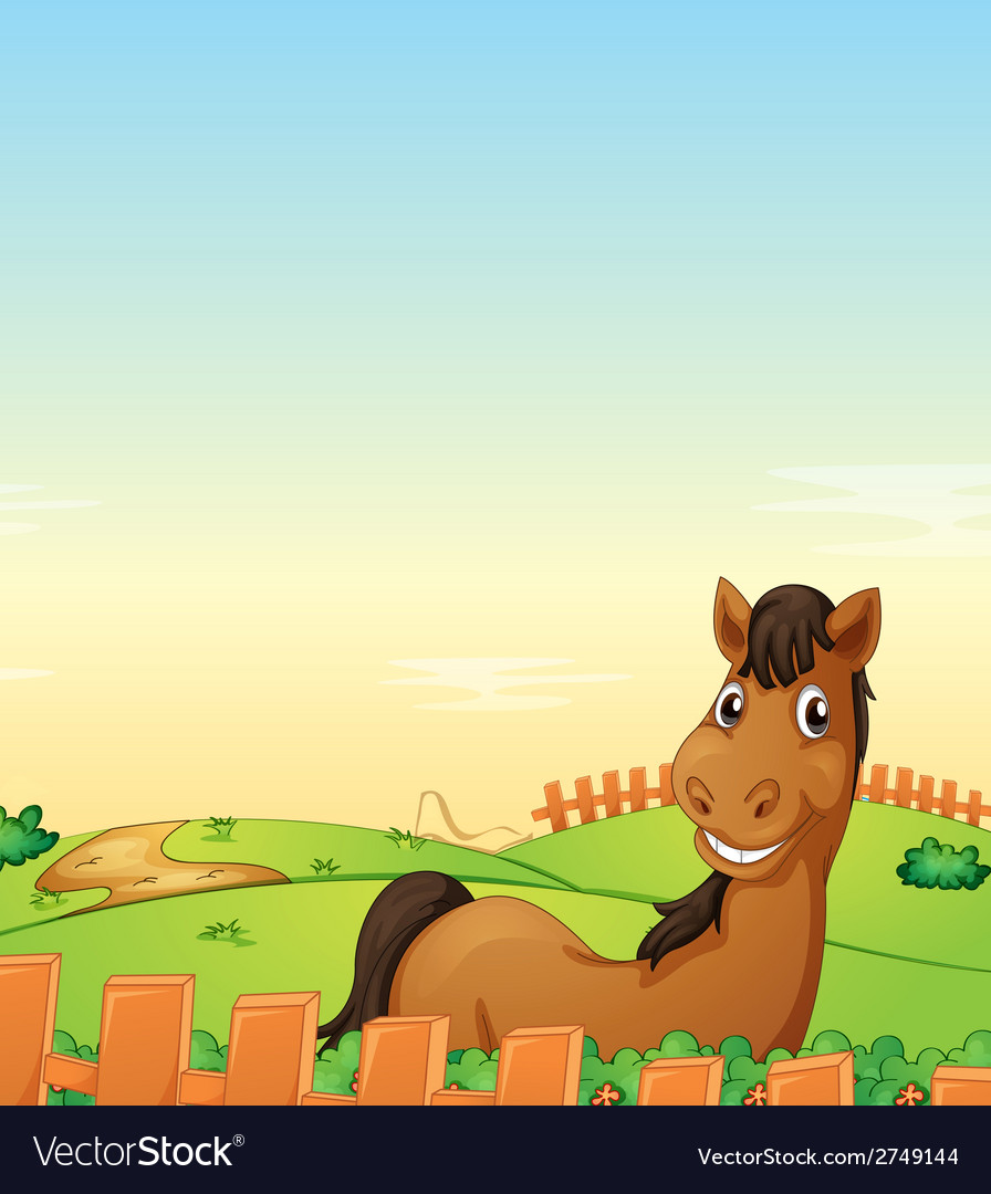Horse in farm vector | Price: 1 Credit (USD $1)