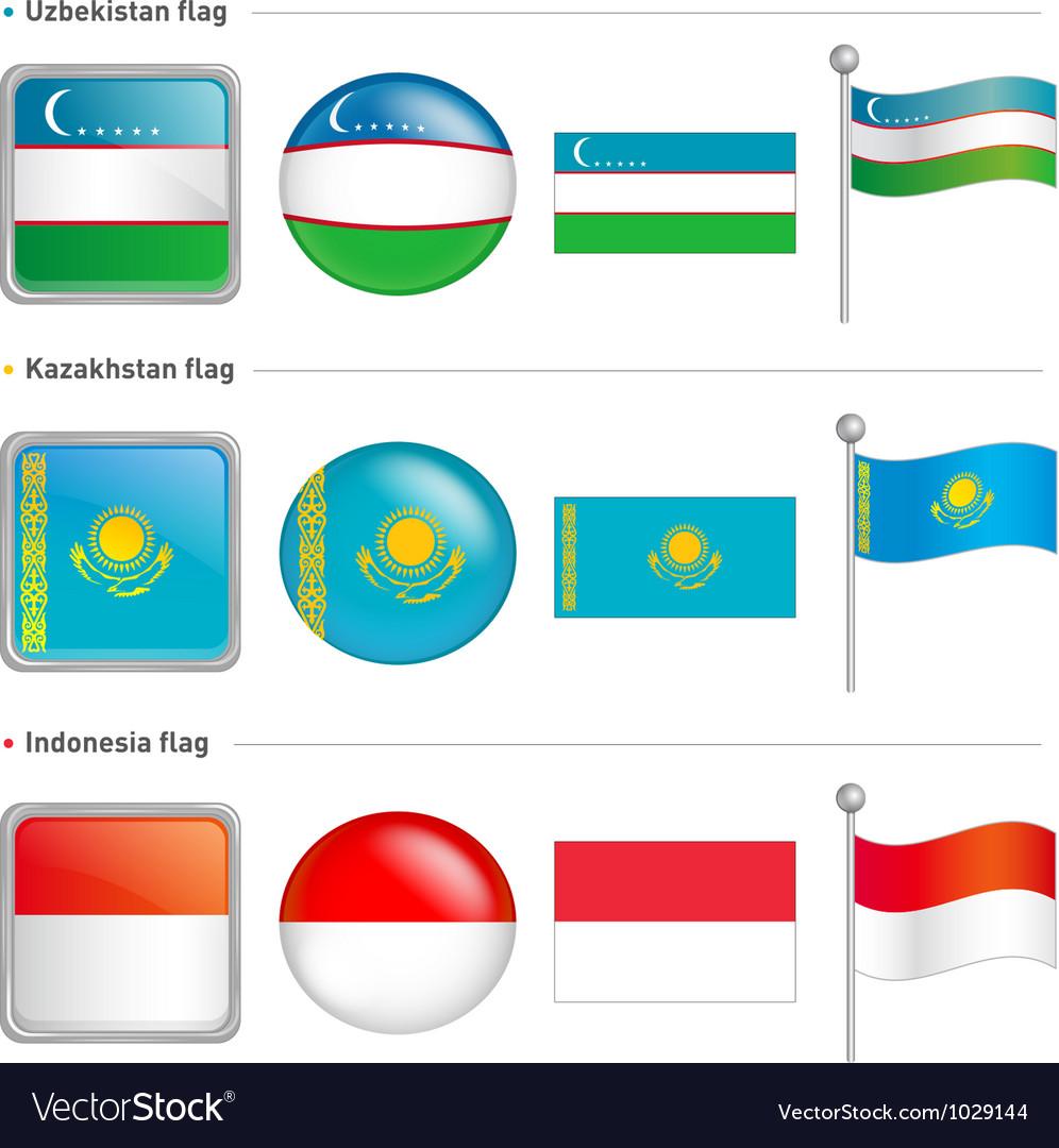 Indonesia and kazakhstan uzbekistan flag icon vector | Price: 1 Credit (USD $1)