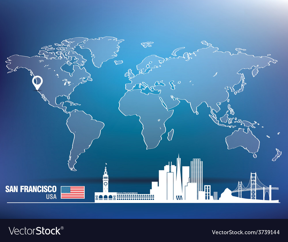 Map pin with san francisco skyline vector | Price: 1 Credit (USD $1)