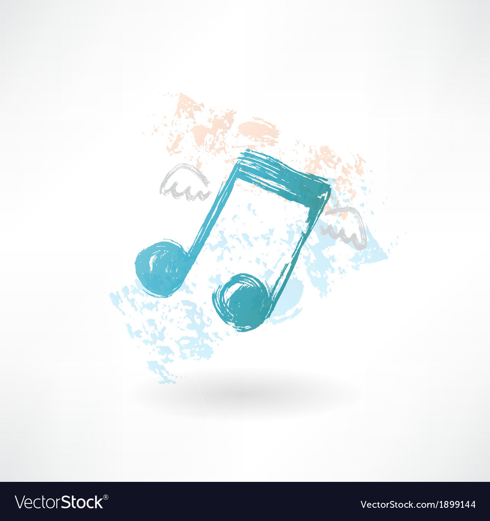 Music wings grunge icon vector | Price: 1 Credit (USD $1)