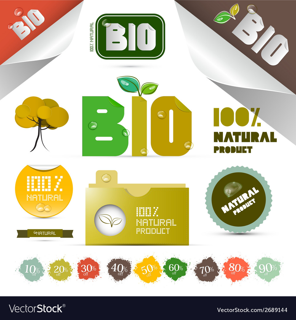 Natural product labels - tags - stickers set vector | Price: 1 Credit (USD $1)
