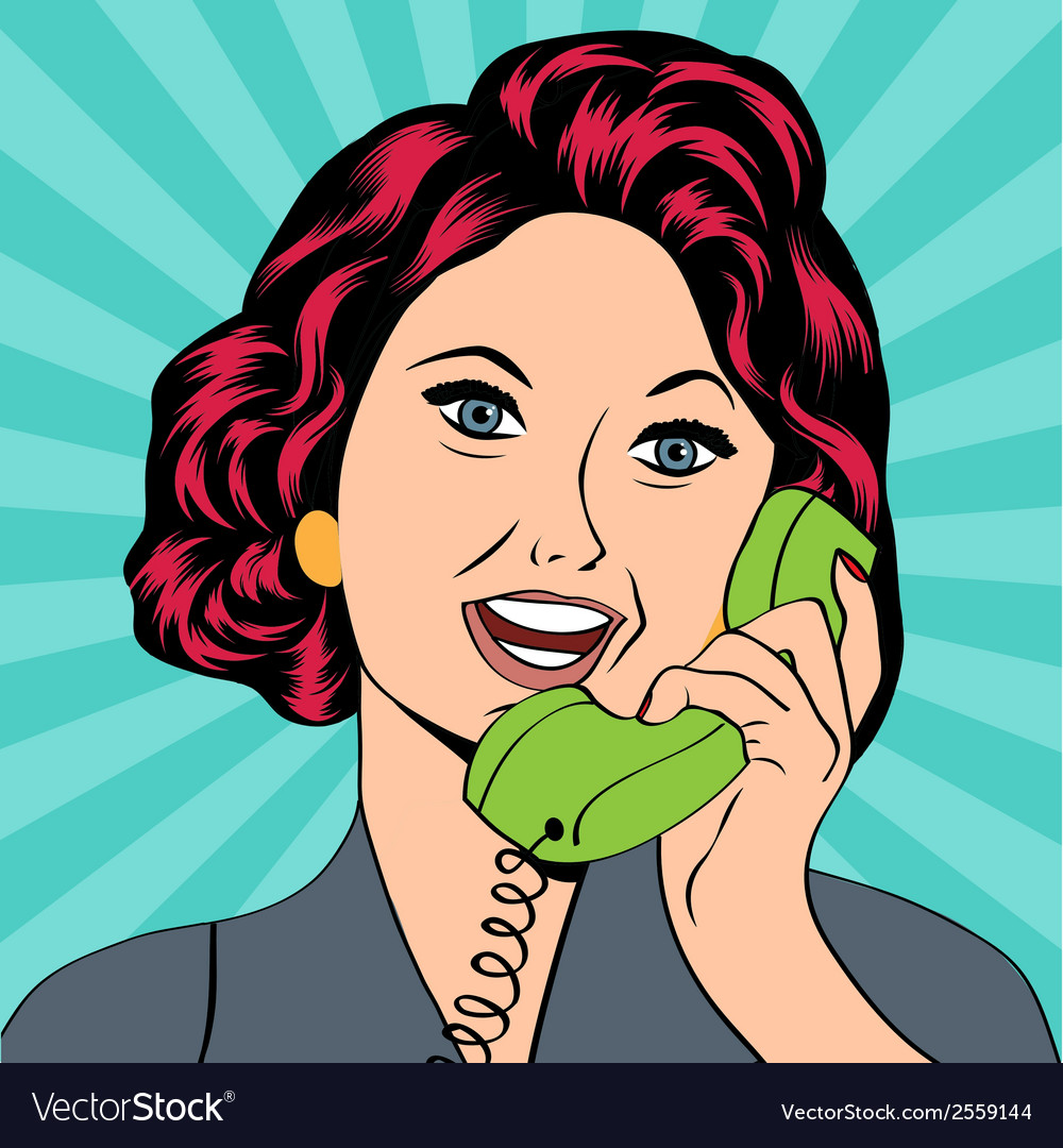 Pop art lady chatting on the phone vector | Price: 1 Credit (USD $1)