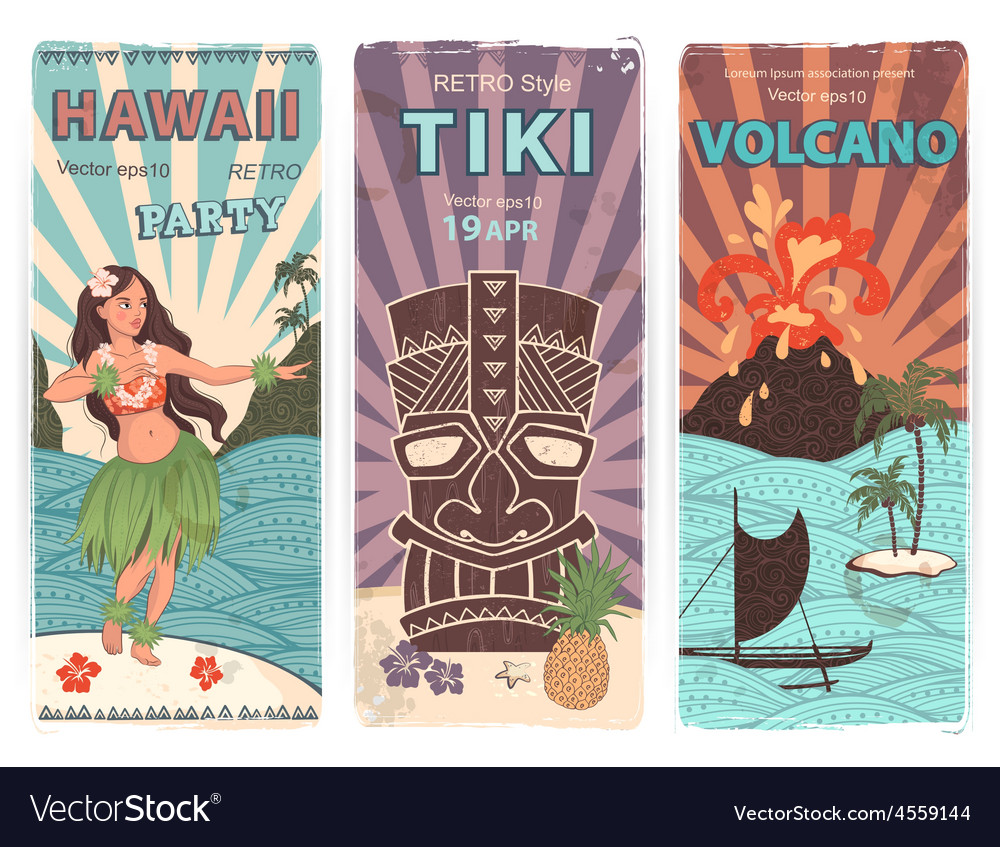 Retro set of banners with hawaiian symbols vector | Price: 3 Credit (USD $3)