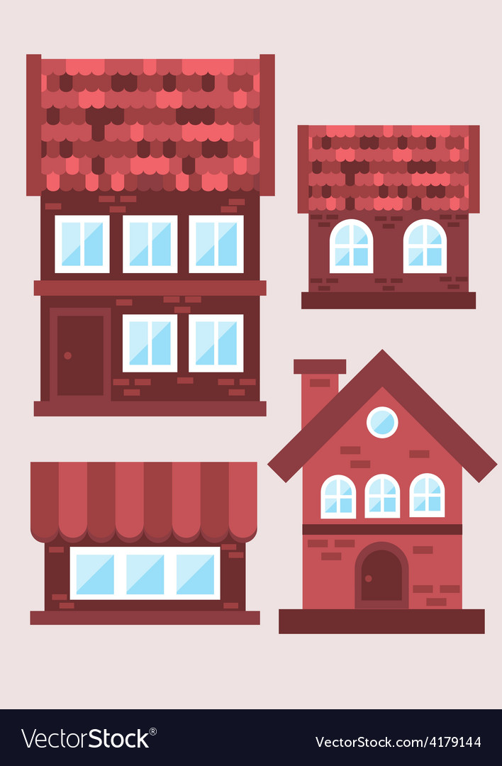 Samples of brick houses on a light background vector | Price: 1 Credit (USD $1)
