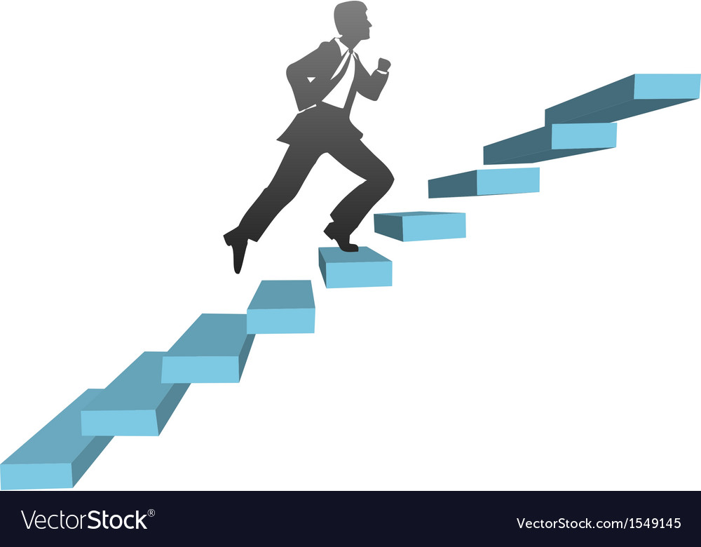 Business man running climb stairs vector | Price: 1 Credit (USD $1)