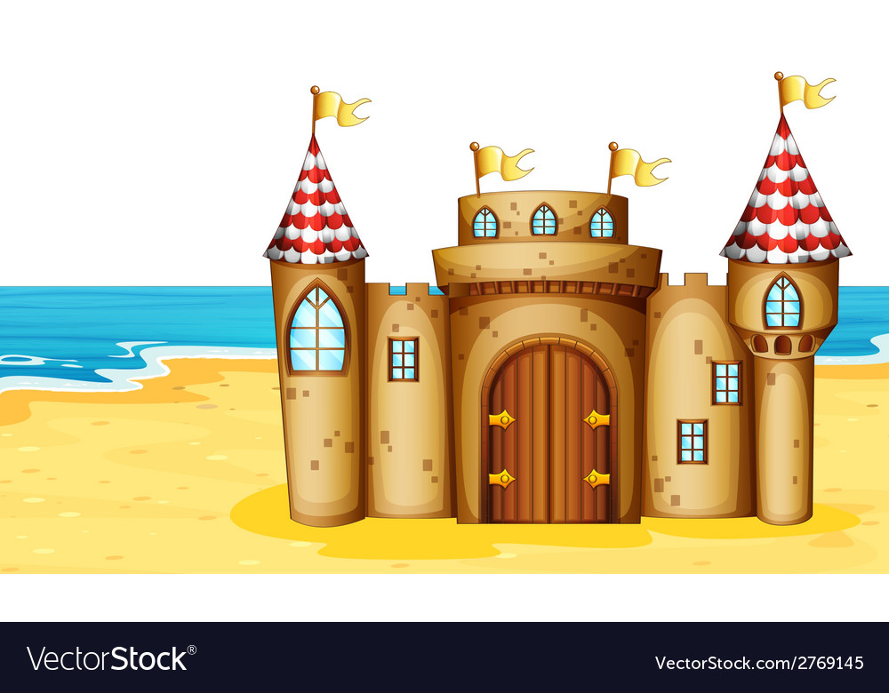 Castle on beach vector | Price: 1 Credit (USD $1)