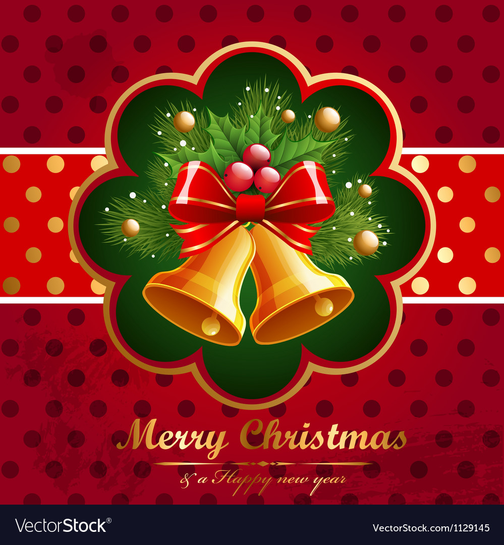 Christmas vintage background with bell and firtree vector | Price: 1 Credit (USD $1)