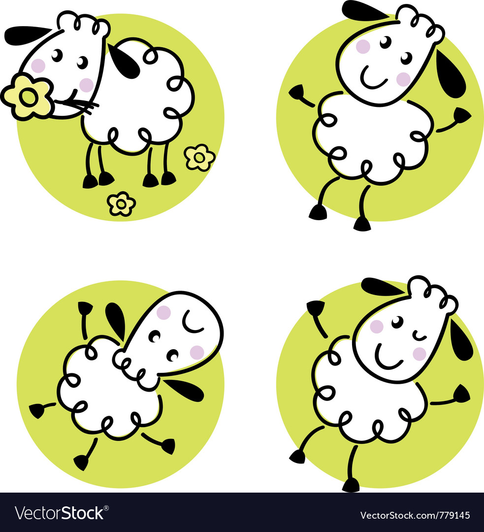 Doodle sheep set vector | Price: 1 Credit (USD $1)