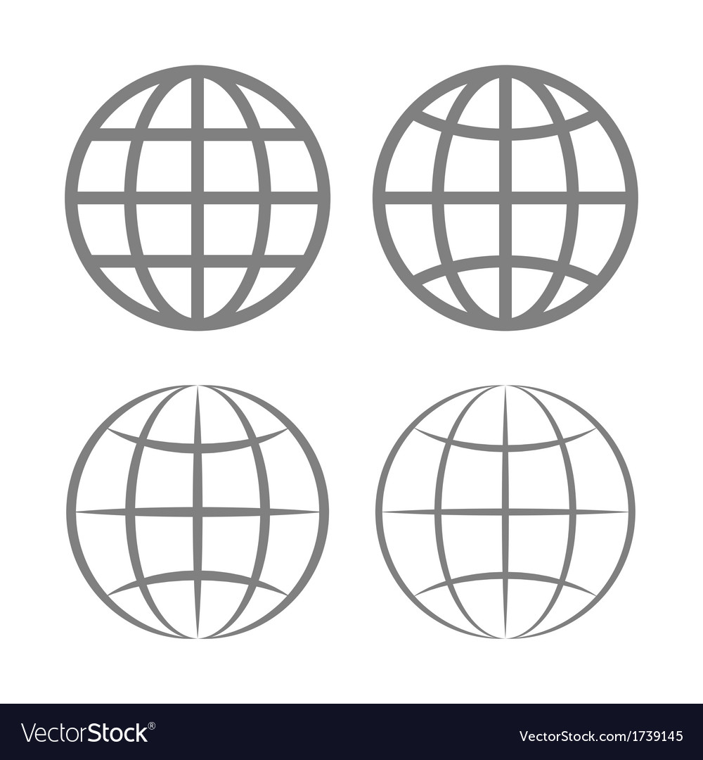Earth globe emblem set vector | Price: 1 Credit (USD $1)