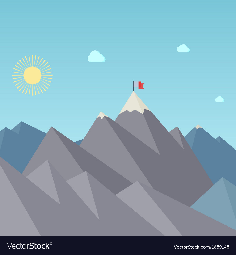 Flag on the mountain peak goal achievement vector | Price: 1 Credit (USD $1)