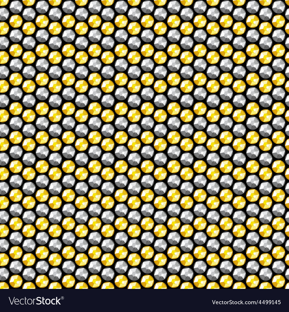 Gold and silver crystal sequins seamless pattern vector | Price: 1 Credit (USD $1)